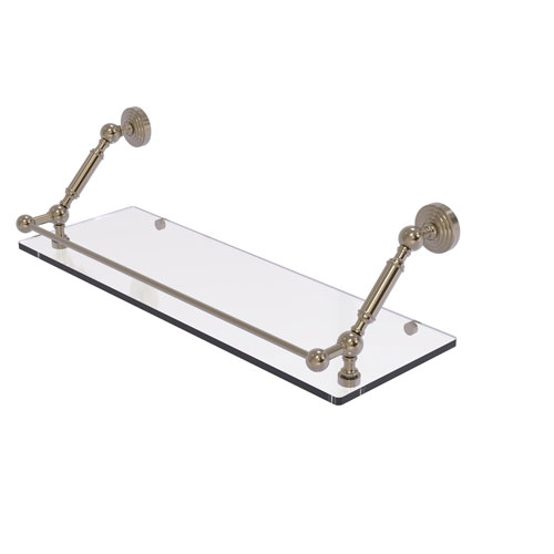 Waverly Place Antique Pewter 24-Inch Floating Glass Shelf with Gallery Rail
