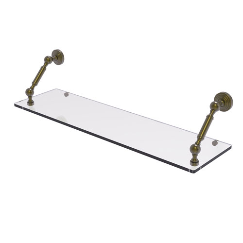 Waverly Place Antique Brass 30-Inch Floating Glass Shelf