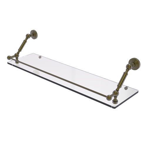 Waverly Place Antique Brass 30-Inch Floating Glass Shelf with Gallery Rail