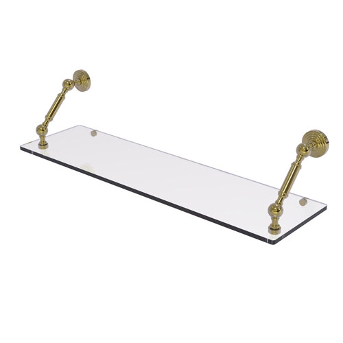 Waverly Place Unlacquered Brass 30-Inch Floating Glass Shelf