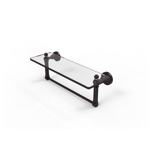 Waverly Place Antique Bronze 16-Inch Glass Vanity Shelf with Integrated Towel Bar