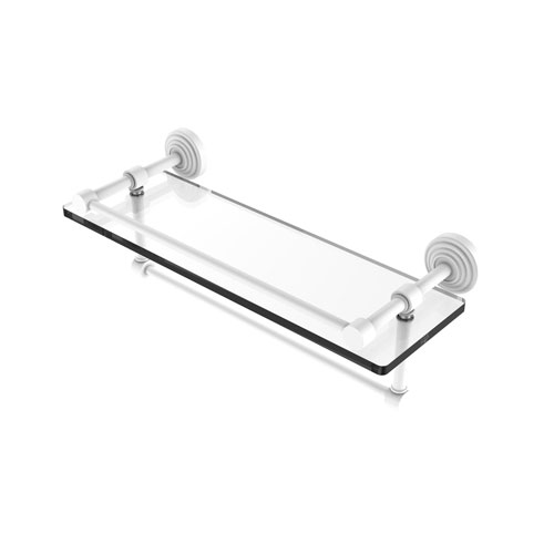 Waverly Place Matte White 16-Inch Glass Shelf with Towel Bar