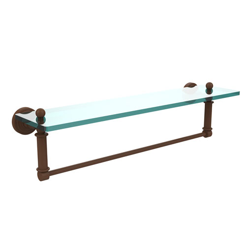 Waverly Place Antique Bronze 22-Inch Glass Vanity Shelf with Integrated Towel Bar