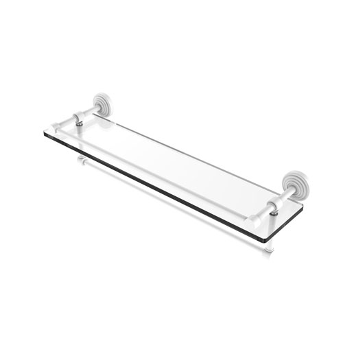 Waverly Place Matte White 22-Inch Glass Shelf with Towel Bar