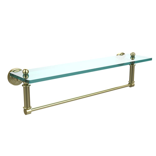 Waverly Place Satin Brass 22-Inch Glass Vanity Shelf with Integrated Towel Bar