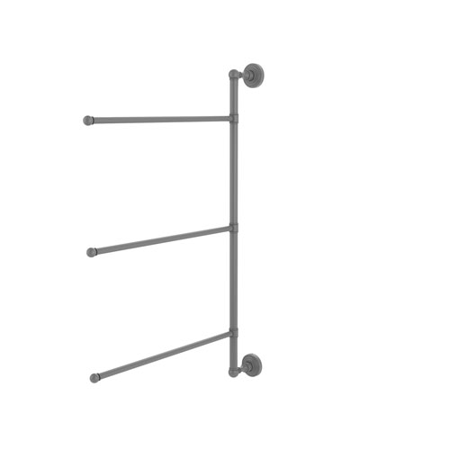 Waverly Place Matte Gray 28-Inch Three-Swivel Arm Vertical Towel Bar