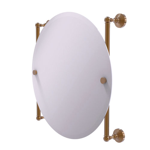 Waverly Place Brushed Bronze 22-Inch Round Frameless Rail Mounted Mirror