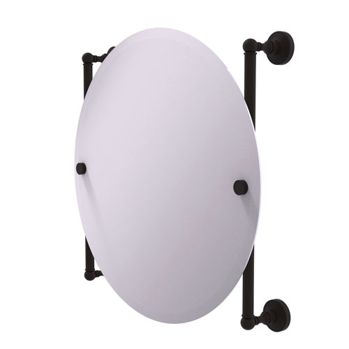 Waverly Place Oil Rubbed Bronze 22-Inch Round Frameless Rail Mounted Mirror