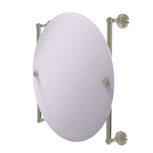 Waverly Place Polished Nickel 22-Inch Round Frameless Rail Mounted Mirror