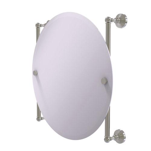 Waverly Place Satin Nickel 22-Inch Round Frameless Rail Mounted Mirror