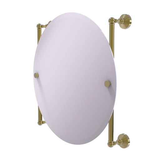 Waverly Place Unlacquered Brass 22-Inch Round Frameless Rail Mounted Mirror