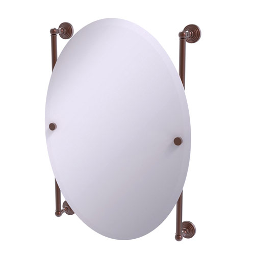 Waverly Place Antique Copper 21-Inch Oval Frameless Rail Mounted Mirror