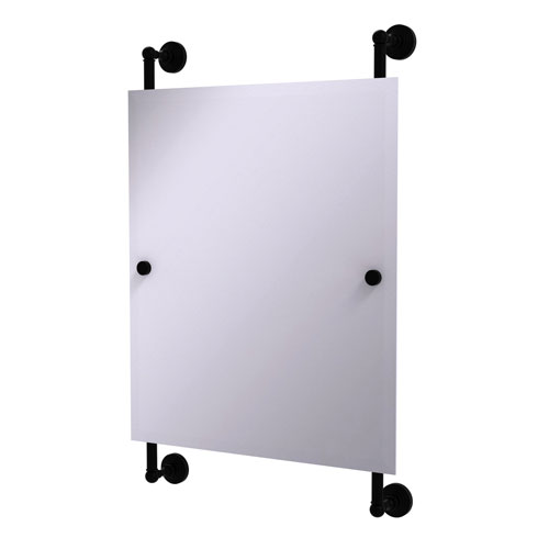 Waverly Place Matte Black 21-Inch Rectangular Frameless Rail Mounted Mirror