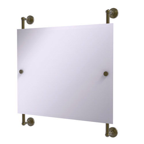 Waverly Place Antique Brass 26-Inch Landscape Rectangular Frameless Rail Mounted Mirror
