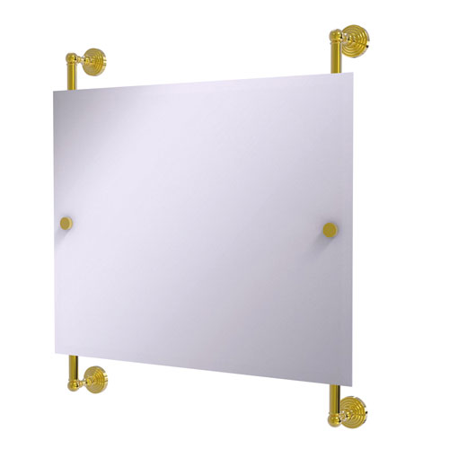 Waverly Place Polished Brass 26-Inch Landscape Rectangular Frameless Rail Mounted Mirror