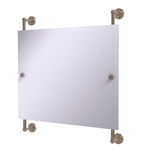 Waverly Place Antique Pewter 26-Inch Landscape Rectangular Frameless Rail Mounted Mirror