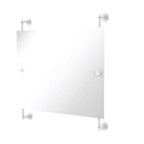 Waverly Place Matte White 26-Inch Landscape Rectangular Frameless Rail Mounted Mirror