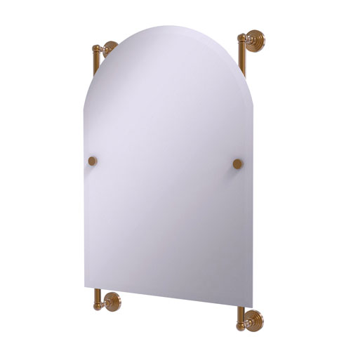 Waverly Place Brushed Bronze 21-Inch Arched Top Frameless Rail Mounted Mirror