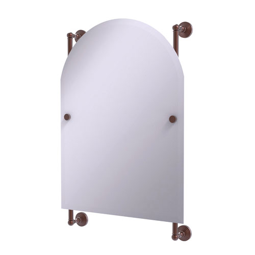 Waverly Place Antique Copper 21-Inch Arched Top Frameless Rail Mounted Mirror