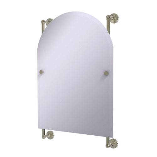 Waverly Place Polished Nickel 21-Inch Arched Top Frameless Rail Mounted Mirror