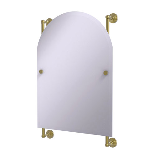 Waverly Place Satin Brass 21-Inch Arched Top Frameless Rail Mounted Mirror