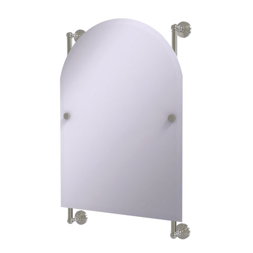 Waverly Place Satin Nickel 21-Inch Arched Top Frameless Rail Mounted Mirror