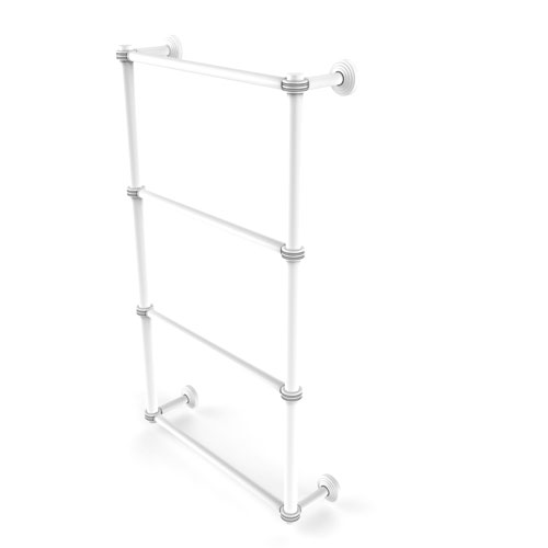 Waverly Place Matte White 30-Inch Four Tier Ladder Towel Bar with Dotted Detail