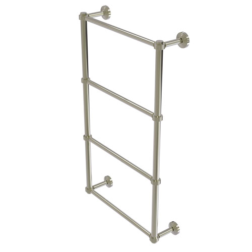 Waverly Place Polished Nickel 30-Inch Four Tier Ladder Towel Bar with Groovy Detail