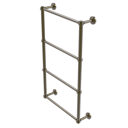Waverly Place Antique Brass 30-Inch Four Tier Ladder Towel Bar with Groovy Detail