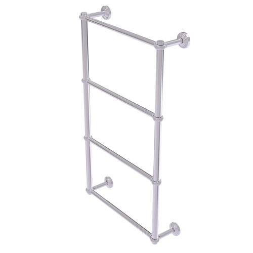 Waverly Place Polished Chrome 24-Inch Four-Tier Ladder Towel Bar with Twisted Detail
