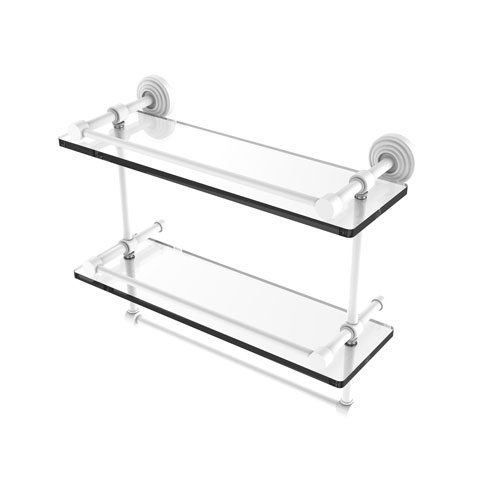 Waverly Place Matte White 16-Inch Double Glass Shelf with Towel Bar