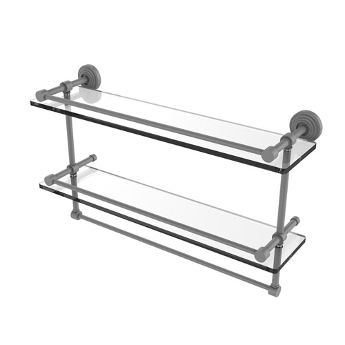 Waverly Place Matte Gray 22-Inch Double Glass Shelf with Towel Bar