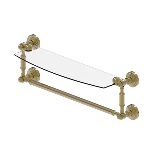 Waverly Place Unlacquered Brass 18-Inch Glass Vanity Shelf with Integrated Towel Bar