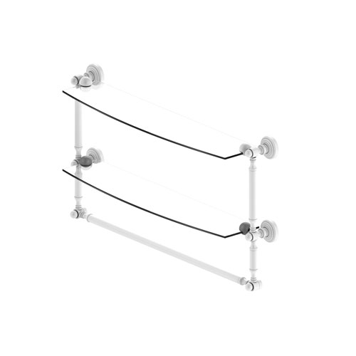 Waverly Place Matte White 24-Inch Two Tiered Glass Shelf with Integrated Towel Bar