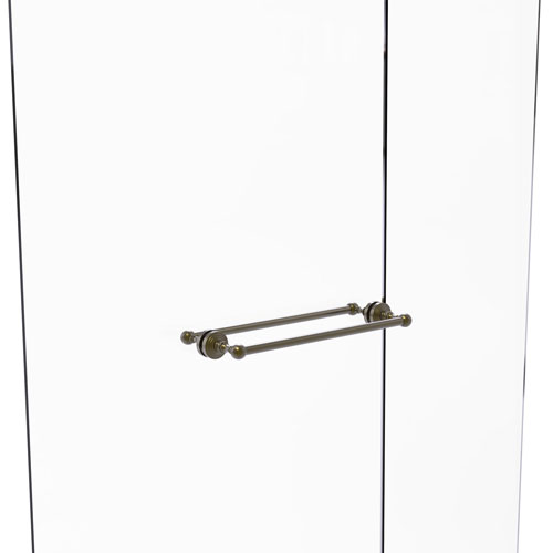 Waverly Place Antique Brass 18-Inch Back to Back Shower Door Towel Bar