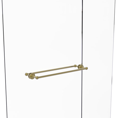 Waverly Place Satin Brass 24-Inch Back to Back Shower Door Towel Bar
