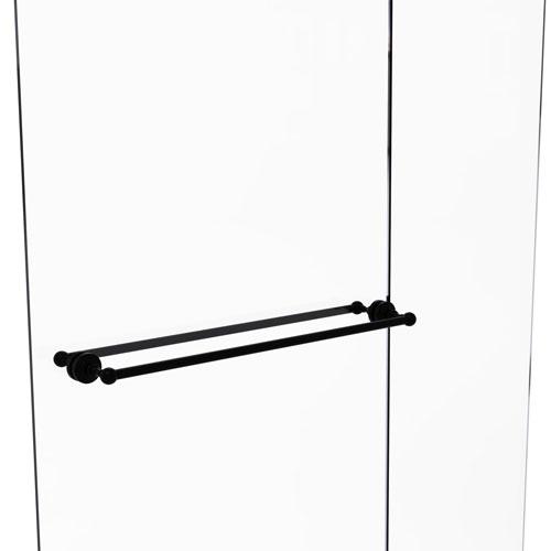 Waverly Place Matte Black 30-Inch Back to Back Shower Door Towel Bar
