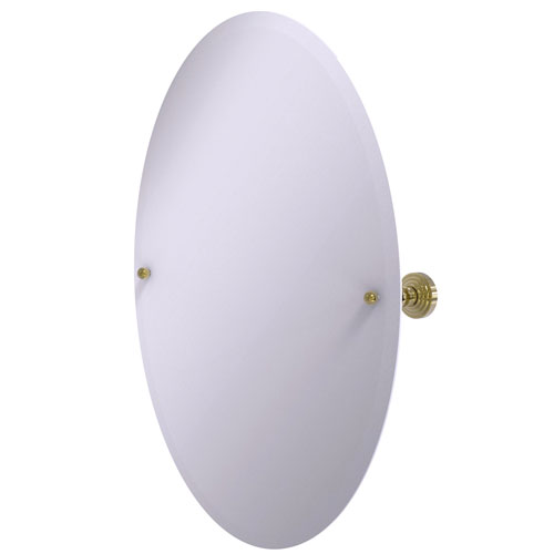 Waverly Place Unlacquered Brass 21-Inch Frameless Oval Tilt Mirror with Beveled Edge