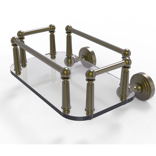 Waverly Place Antique Brass Eight-Inch Wall Mounted Glass Guest Towel Tray