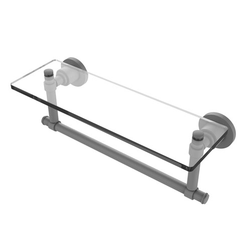 Washington Square Matte Gray 16-Inch Glass Vanity Shelf with Integrated Towel Bar