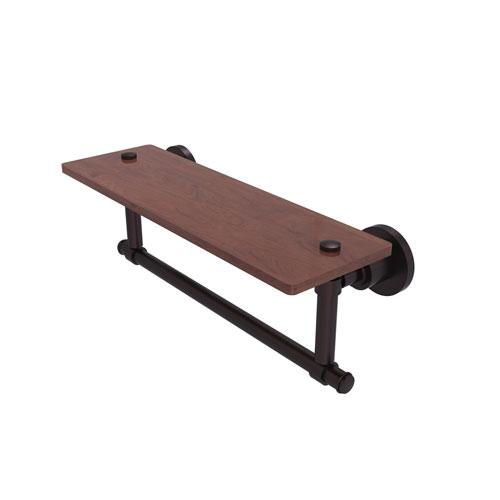 Washington Square Antique Bronze 16-Inch Solid IPE Ironwood Shelf with Integrated Towel Bar