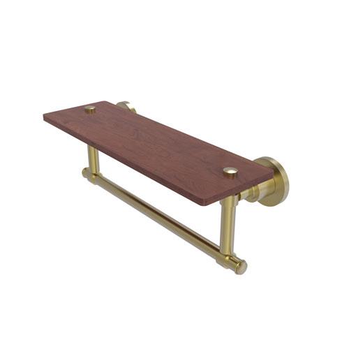 Washington Square Satin Brass 16-Inch Solid IPE Ironwood Shelf with Integrated Towel Bar