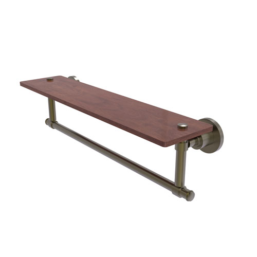 Washington Square Antique Brass 22-Inch Solid IPE Ironwood Shelf with Integrated Towel Bar