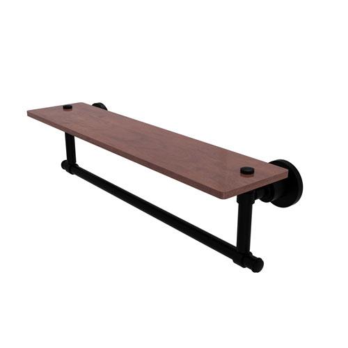 Washington Square Matte Black 22-Inch Solid IPE Ironwood Shelf with Integrated Towel Bar