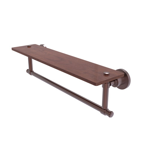 Washington Square Antique Copper 22-Inch Solid IPE Ironwood Shelf with Integrated Towel Bar