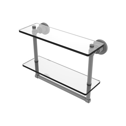 Washington Square Matte Gray 16-Inch Two Tiered Glass Shelf with Integrated Towel Bar
