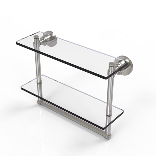 Washington Square Satin Nickel 16-Inch Two Tiered Glass Shelf with Integrated Towel Bar