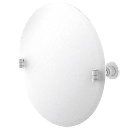 Washington Square Matte White 22-Inch Frameless Round Tilt Mirror with Beveled Edge