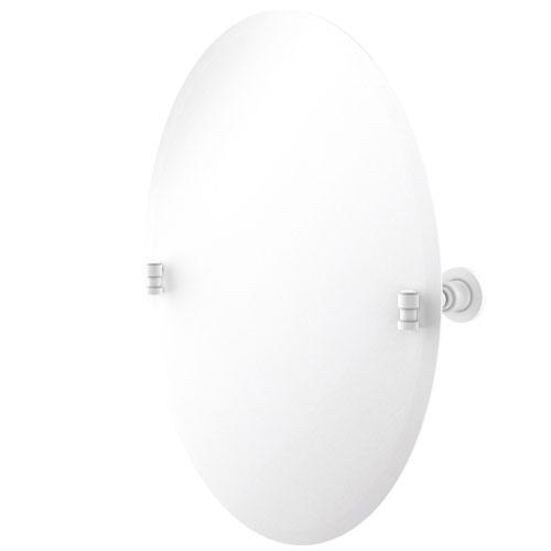 Washington Square Matte White 21-Inch Frameless Oval Tilt Mirror with Beveled Edge
