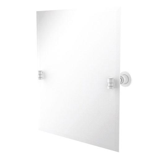 Washington Square Matte White 21-Inch Frameless Rectangular Tilt Mirror with Beveled Edge